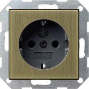 Gira S-55 Бронза/Антрацит Розетка с/з с защитными шторками(0453603)