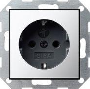 Gira S-55 Хром/Антрацит Розетка с/з с защитными шторками(0453605)